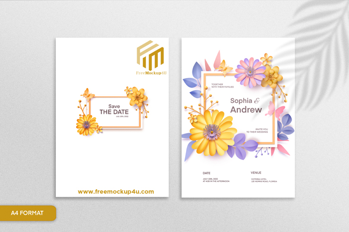 Double Sided Paper Style Floral Wedding Invitation