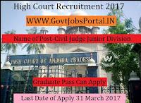 High Court of Andhra Pradesh Recruitment 2017–Civil Judge (Junior Division)