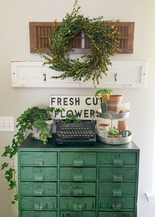 Spring Home Tour - living room with vintage green cabinet
