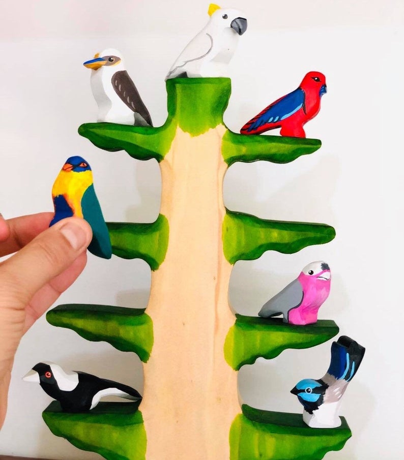 ozzy eco toys australian bird wooden tree set
