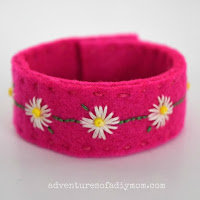 fabric embroidered bracelet