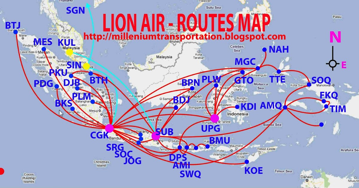 Civil Aviation Lion Air Routes Map