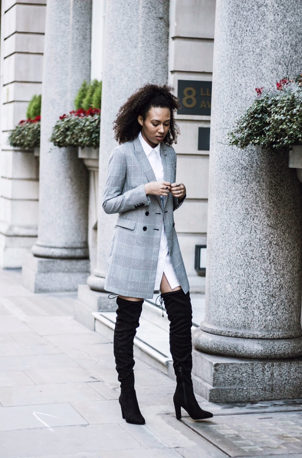 blogger style shirt dress longline blazer over the knee boots