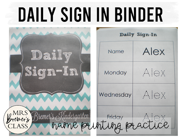 Daily Sign In binder with printing sheets for students to practice writing names daily in Kindergarten
