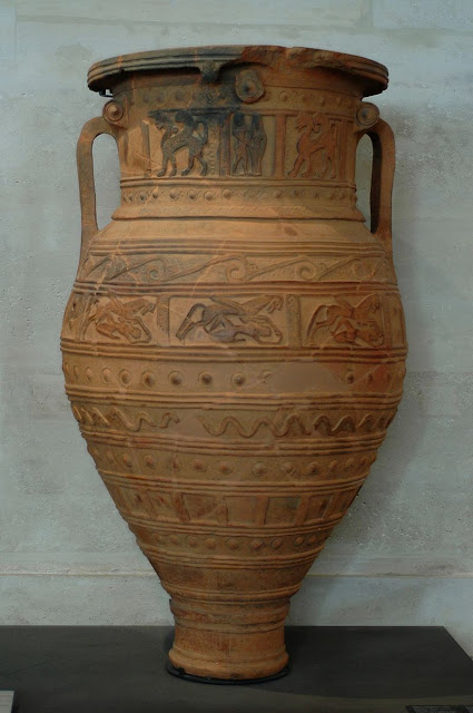 A pithos from Crete Louvre Museum   Found in Arcades  Crete,  675 BC. Terracotta, stamped and incised decoration.