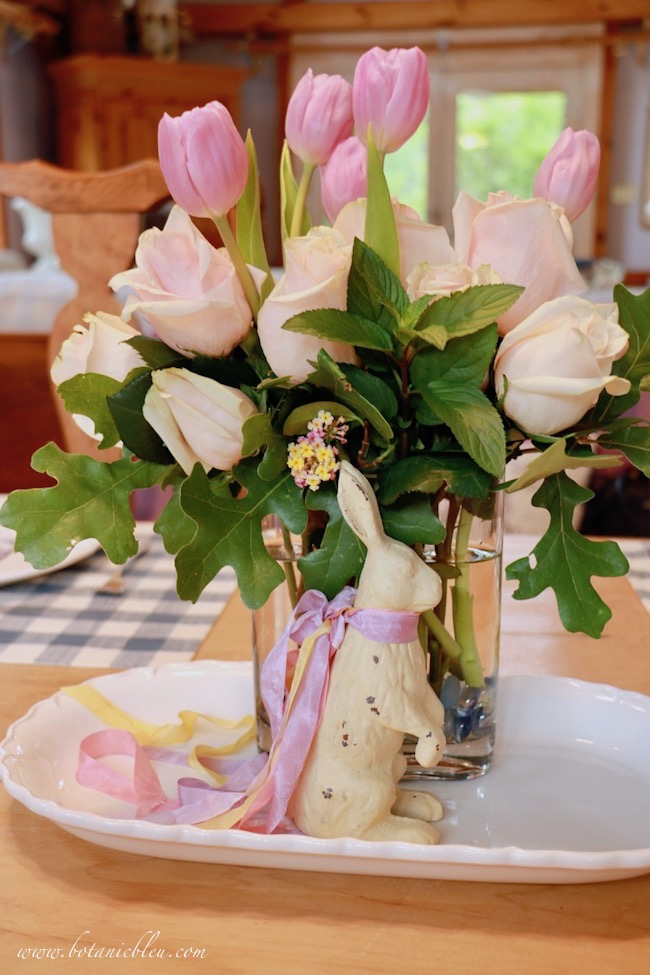 Beautiful Spring Centerpiece with roses, tulips, oak leaves, mint sprigs