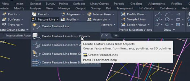 Create feature lines from objects in Autodesk Civil 3D