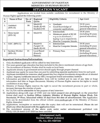 Ministry Of Human Rights Jobs In Islamabad
