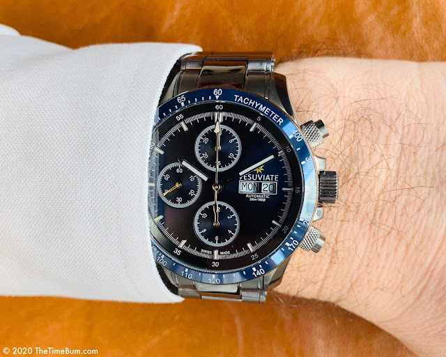 Vesuviate Automatic Chronograph Blue wrist shot