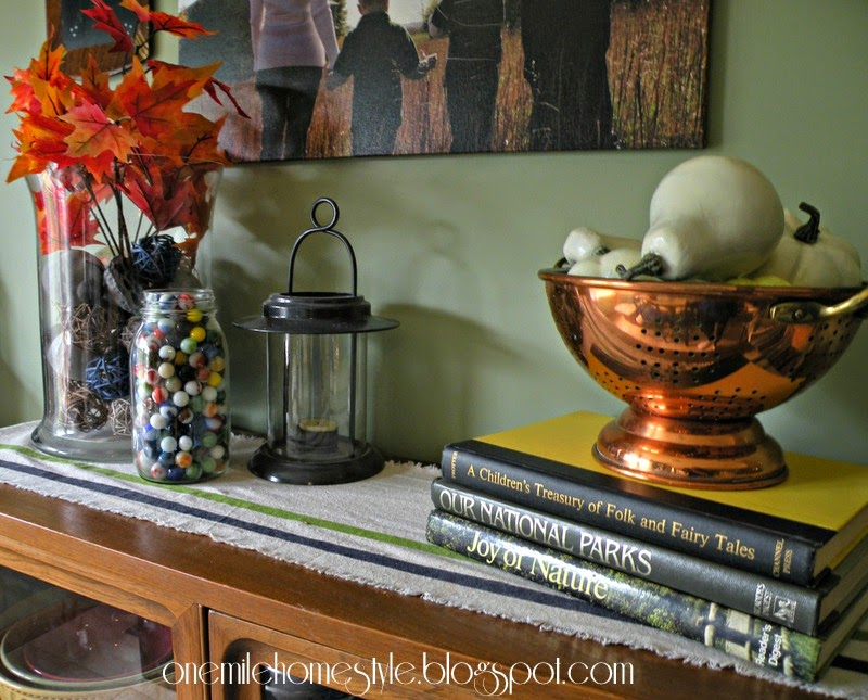 Simple fall decor - leaves, marbles, copper and pumpkins