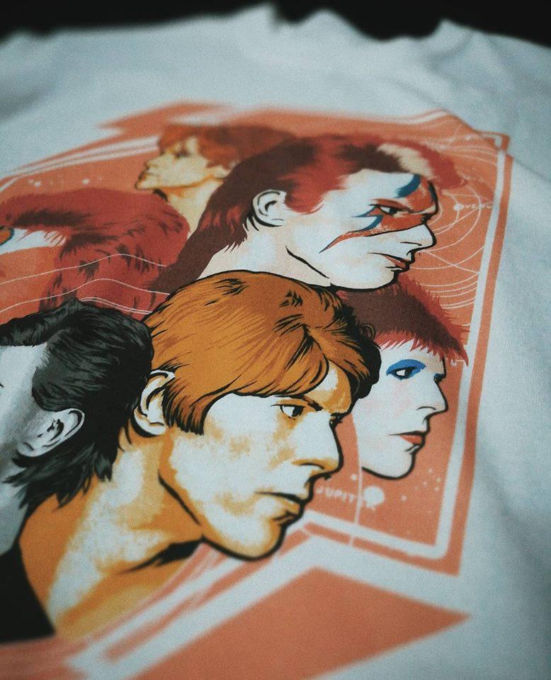 Serigrafía de David Bowie en Citrola indumentaria y plataforma de ilustradores chilenos