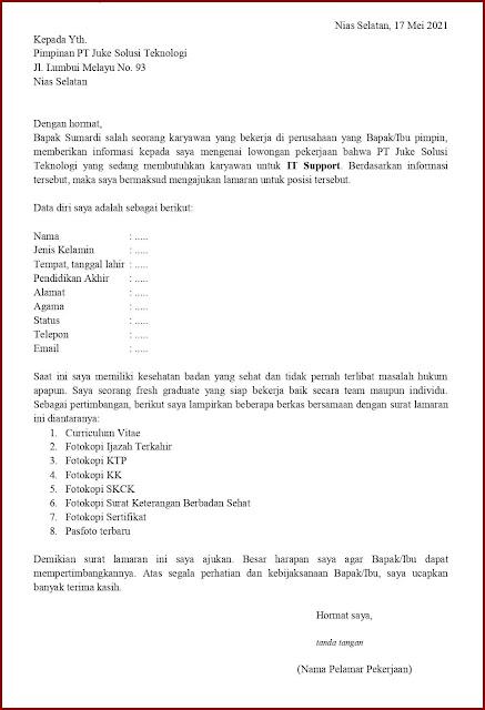 Contoh Application Letter Untuk IT Support (Fresh Graduate) Berdasarkan Informasi Dari Seseorang