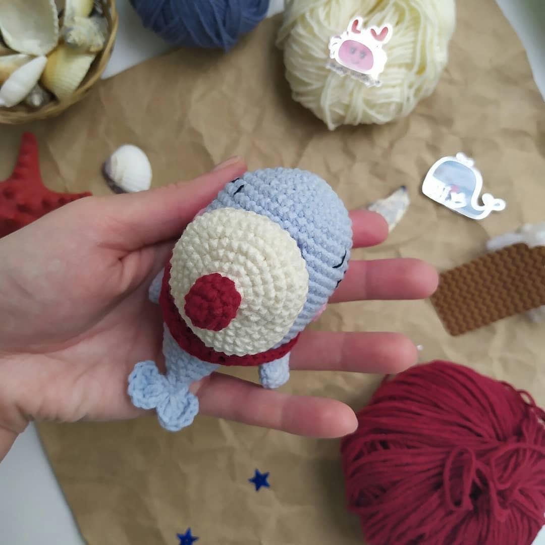 Crochet toy whale amigurumi