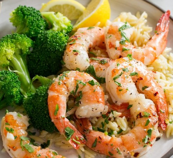 Baked Shrimp (with Garlic Lemon Butter Sauce) #dinner #lunch