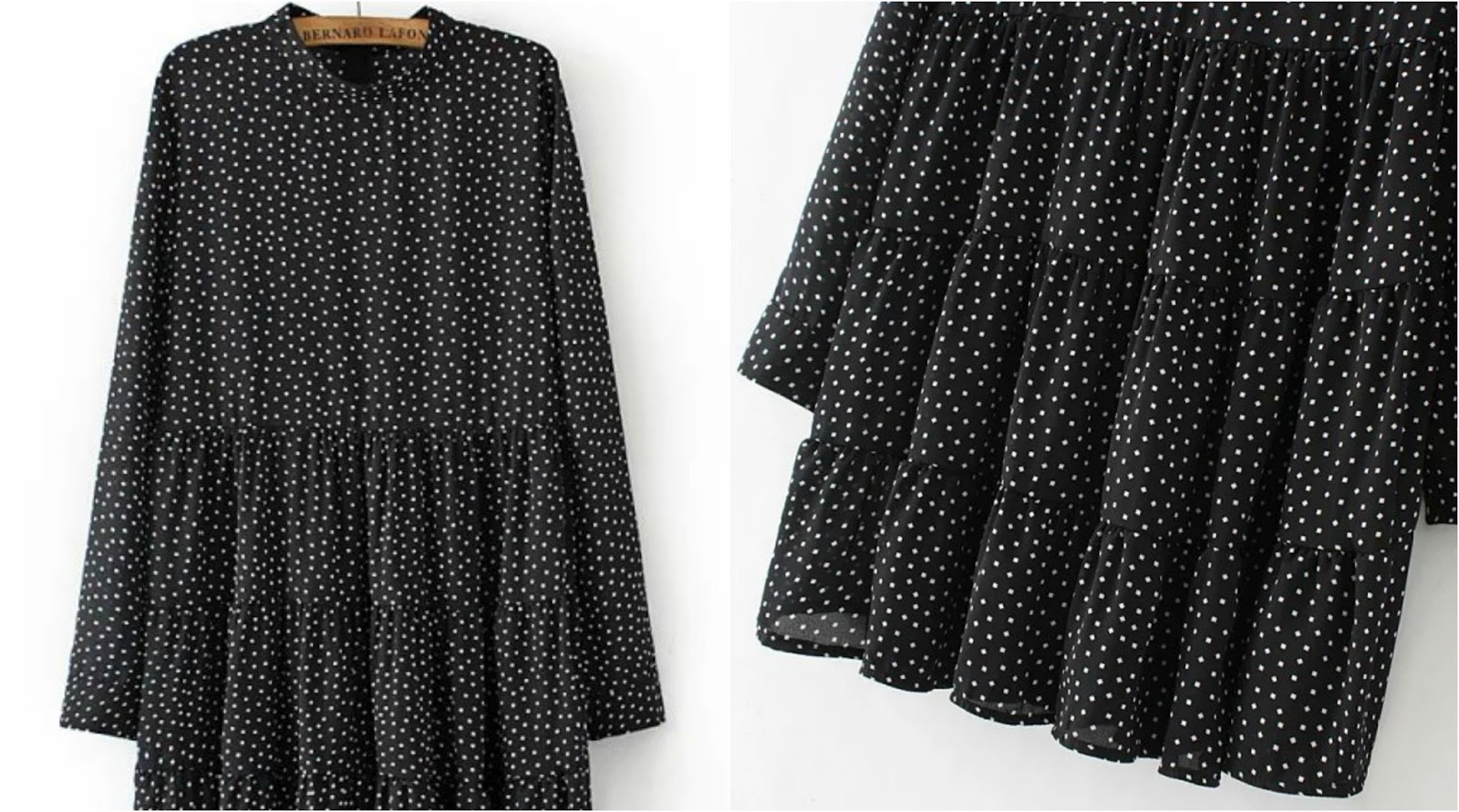 Black Stand Collar Square Print Dress