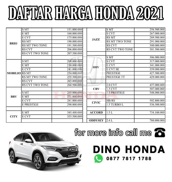 Honda Brio, Honda City, Honda HRV, Honda CRV Apakah ada promo diskon menarik dan murah?
