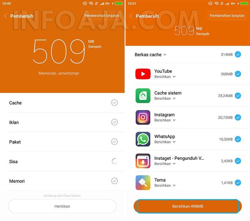 Bersihkan file cache di Xiaomi