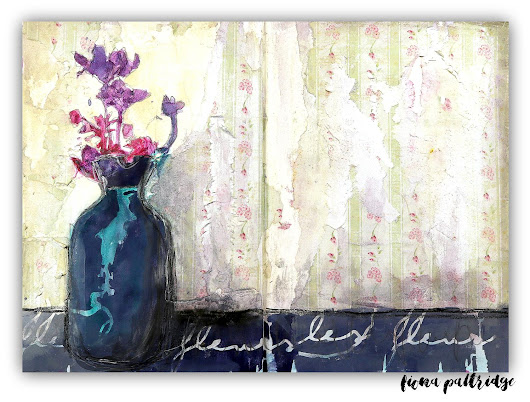 Artist Gang Tuesday - Vase on a Shelf, Art Journal Page