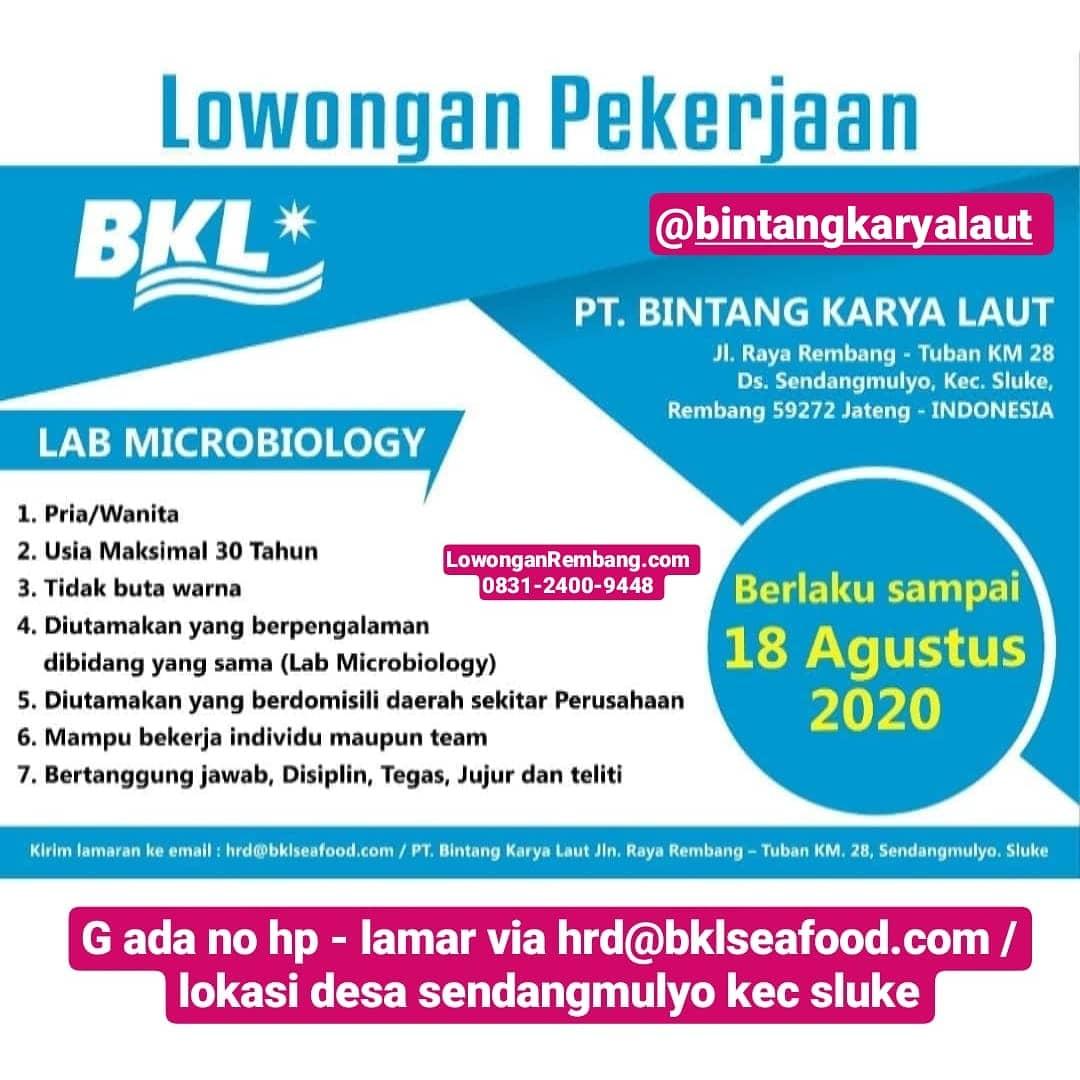 Lowongan Kerja Posisi Lab Microbiology PT. Bintang Karya Laut Sendangmulyo Sluke Tanpa Syarat Pendidikan