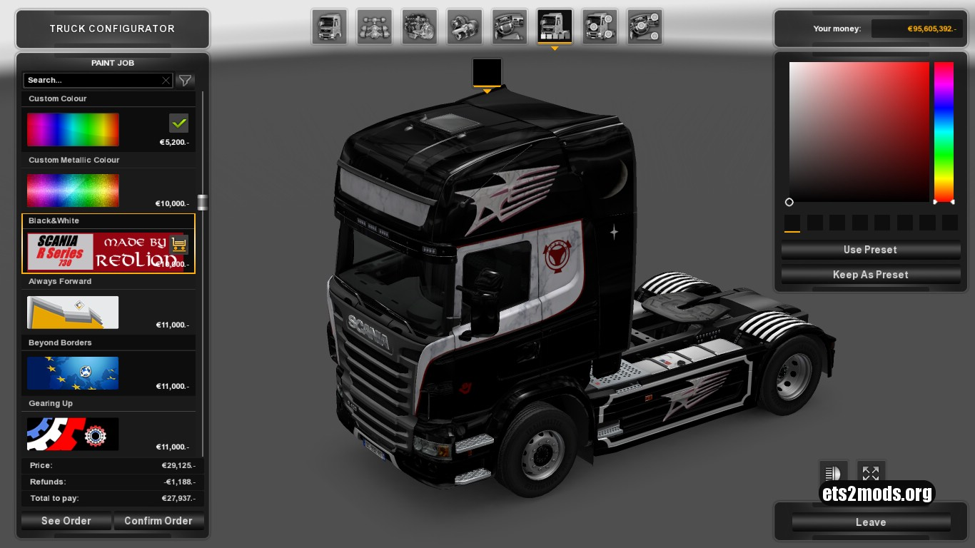 Black & White Skin for Scania R