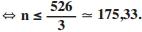 N é menor ou igual a quinhentos e vinte e seis sobre três que é igual a cento e setenta e cinco virgula trinta e três