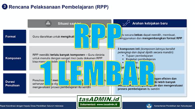 tentang rpp 1 lembar pedoman format