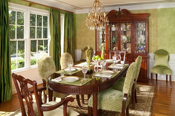 Desain Ruang Makan dengan Aksen Warna Hijau