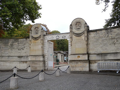 Front gate to the Pere Lachaise Cemetary in Paris, France