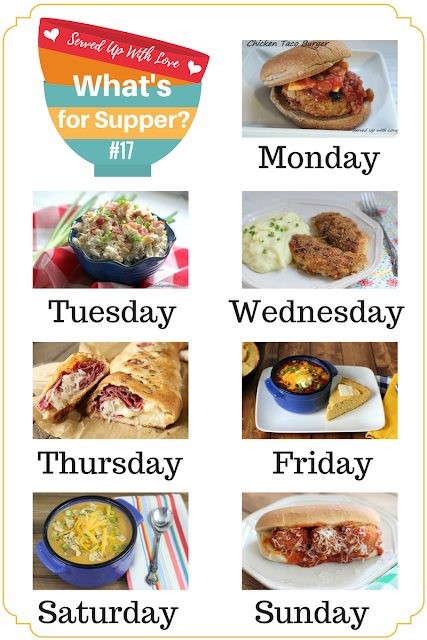 Stop those dreaded questions from the family every day and follow along with What's for Supper Sunday! Chicken Taco Burgers, Chili, Oh So Good Crispy Chicken, and Meatballs Subs are just a few of the recipes on the menu this week. #mealplanning #maindish #crockpot #slowcooker #chicken #easy #recipes