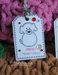 Snow Puppy tag by Crafty Math Chick | Flaky Friends stamp set, Tag Sampler Stamp Set, Tags Times Two die set, Canine Christmas stamp set by Newton's Nook Designs