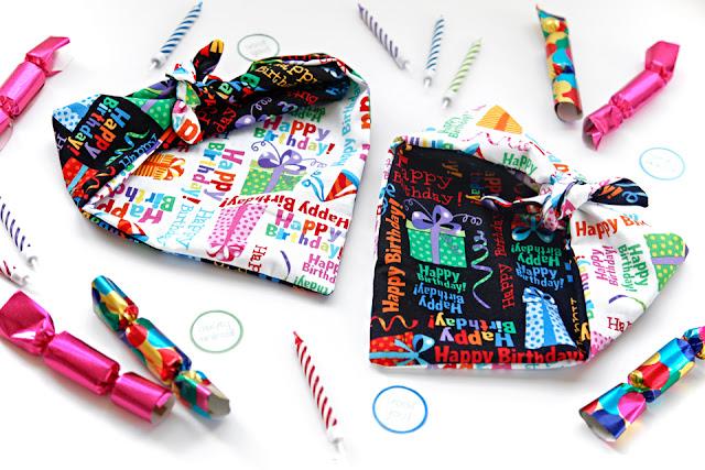 DIY reversible dog birthday bandanas