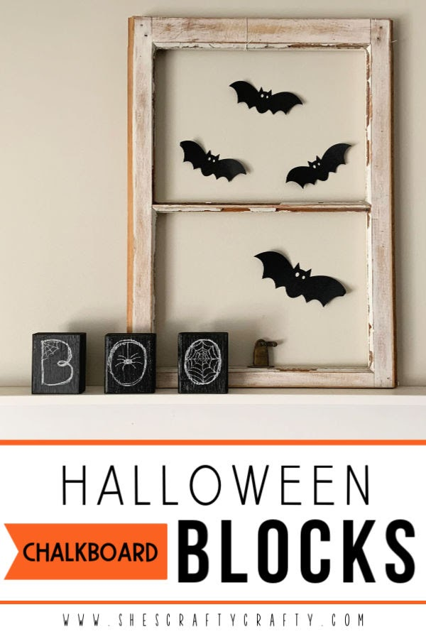 Halloween Chalkboard Blocks |  Super Easy, Super Inexpensive Halloween Home Decor