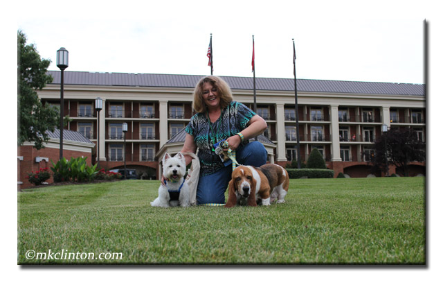 Nashville hotel with woman, Basset Hound and Westie