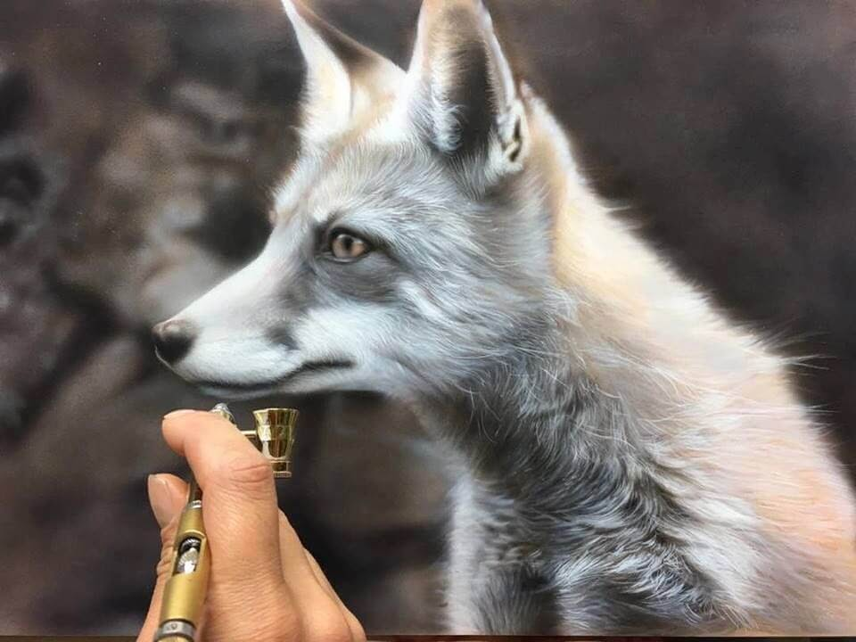 05-Red-Fox-WIP-M-Oosterlee-Realistic-Airbrush-Animal-Paintings-www-designstack-co