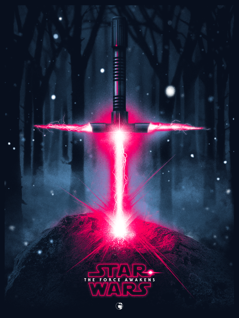 "Star Wars: The Force Awakens ""A Lightsaber in the Stone"" Screen Print by Patrick Connan"
