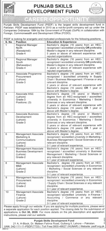 Punjab Skills Development Fund PSDF Jobs in Pakistan 2020 - 2021 - Online Apply - www.psdf.org.pk