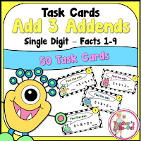 Add three addends using simple additon