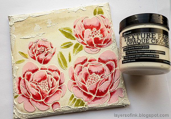 Layers of ink - Peony Mixed Media Canvas Tutorial by Anna-Karin Evaldsson. Add crackle paste.
