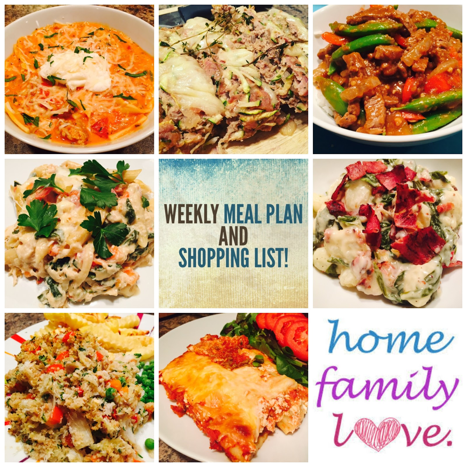 weekly meal plan and shopping list 7 family favorites