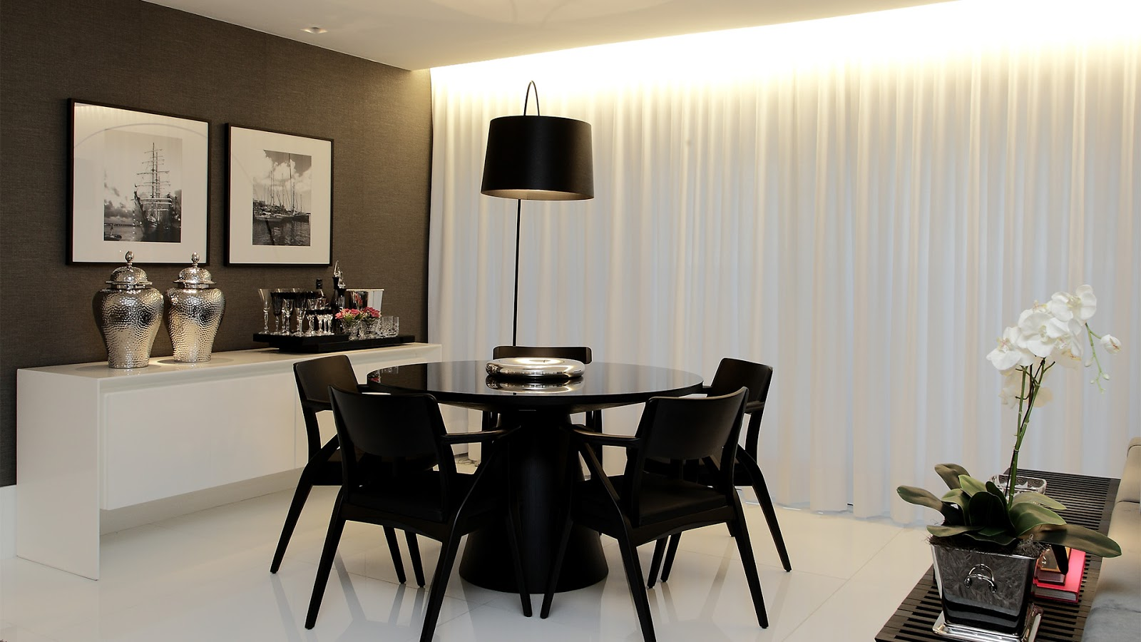 Sala De Tv Cor Cinza ~ Salas de estar, jantar e tv integradas e decoradas de preto, branco e