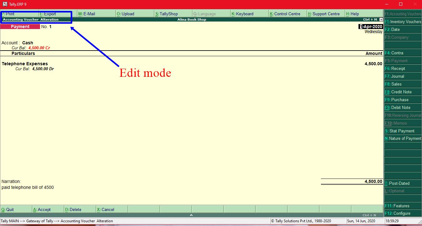 Payment voucher edit mode
