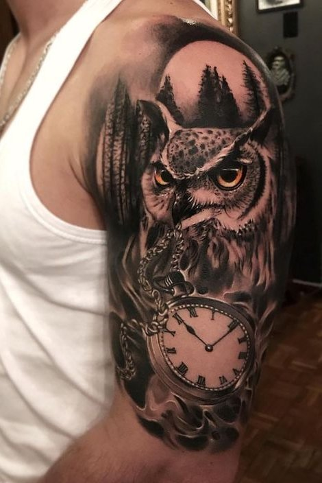 Watch + Owl Tattoo on Shoulder