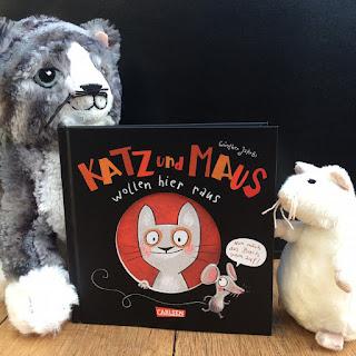 """Bilderbuch """"Katz und Maus wollen hier raus"""" von Günther Jakobs, erschienen im Carlsen Verlag, Rezension Kinderbuchblog Familienbücherei"""