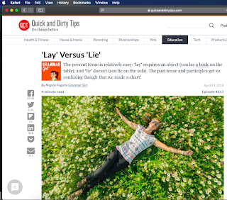 Grammar Girl website open to 'Lay' Versus 'Lie' post with an image of a young woman on her back in a field of daisies.