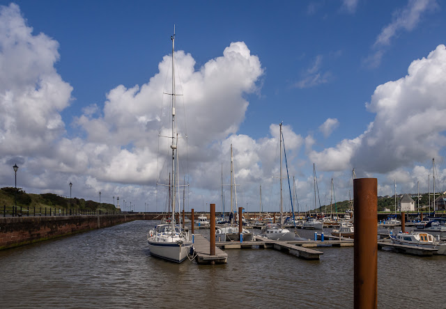 Photo of blue sky and white clouds at Maryport Marina on Saturday