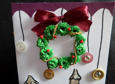 Kartki świąteczne z wiankiem, bombki DIY