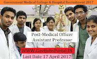 Government Medical College & Hospital Recruitment 2017– Medical Officer, Assistant Professor