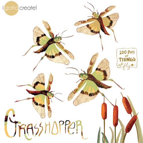 Grasshoppers in Gouache by I Gotta Create!