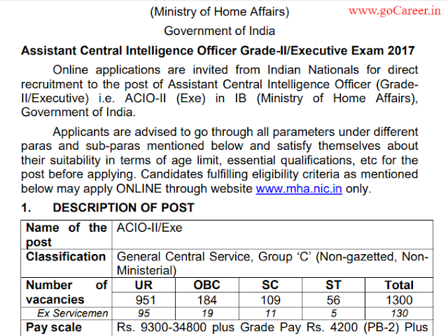 Direct Recruitment in IB for ACIO-II (Exe) for 1300 Posts