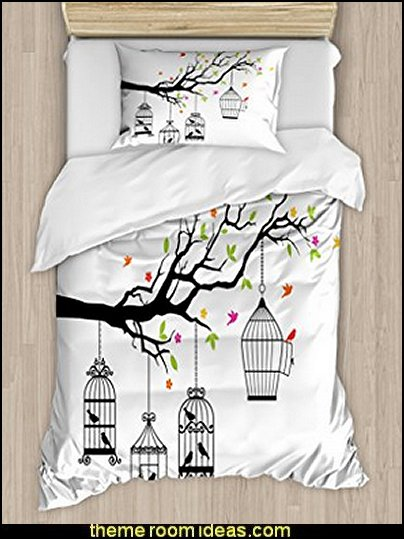 Flying Birds Decor Duvet Cover Set